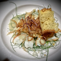Carpaccio di Aragosta con Gorgonzola e Tropea croccante